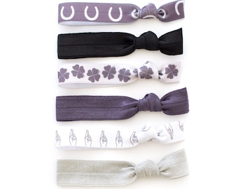 The Good Luck Package - Horseshoe - Four Leaf Clover - Fingers Crossed -  Elastic Hair Ties that Double as Bracelets by Mane Message on Etsy