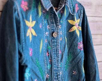 VINTAGE Floral Jean Jacket, Women's Eclectic Jean Jacket