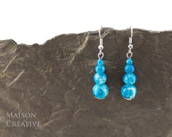 Earrings Sea Breeze glass beads Natural stone effect