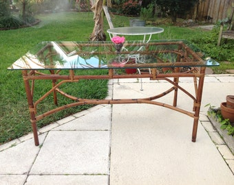 Sold BAMBOO RATTAN DINING Table / Vintage Chippendale Style Table /Chippendale Style Bamboo Table Hollywood Regency at Retro Daisy Girl