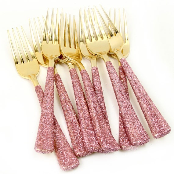 Gold Plastic Fork, Blush Pink Glitter Silverware Pink Utensils Disposable Party Silverware Decorative Tableware Table Settings