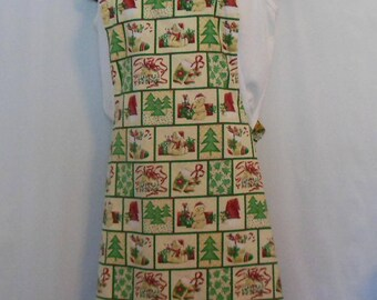Christmas and Thanksgiving Holiday Apron Pinafore Style Reversible