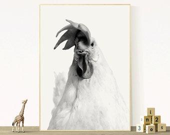 Chicken Print, Nursery Printable, Farm Animal Wall Art, Rooster Photo, Cute Children Poster, Kids Bedroom, Black & White Decor, Digital File