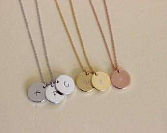 Silver, Gold, Rose Gold Available, Disc initial necklace, dainty initial necklace, delicate necklace, sister gift, gift for friend.