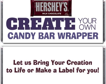 12 Custom Designed Candy Bar Wrappers for Hershey's Chocolates - Create Your Own Candy Bar Label - Personalized Candy Bar Labels
