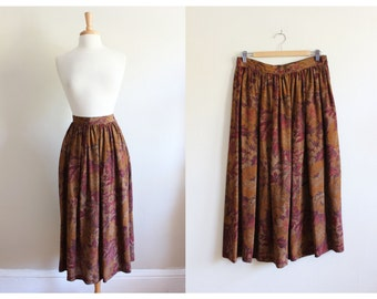 Vintage Calvin Klein Classics Rust Floral Silk Midi Skirt