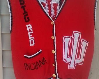 Indiana Hoosiers Belle Pointe Cardigan Knit Sweater Style University/BOB KNIGHT