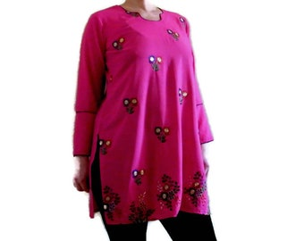 BOHO fuchsia embroidered tunic dress Indian pink kurta Hippie tunic Floral embroidery Bohemian long top Festival Ethnic tunic blouse size L
