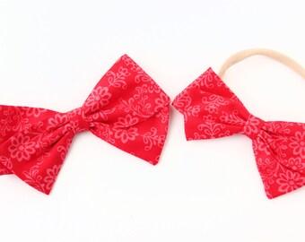 Hair Bows Pink Flowers - Pink Fabric Hair Bow - Hair Clips or Nylon Headbands