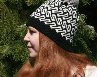 Spring Fall Autumn Hat, Traditional Ancient Viking Age Fair Isle Beanie, Customized Beanie, Gift for Her, Unique Gift, Card Weaving, EBW