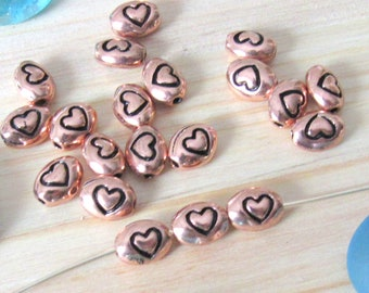 Tiny heart beads, set of 10, rice beads, spacer beads, pendant heart, bead heart, copper hearts, rose gold hearts, Heart charms, focal beads