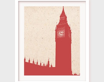 Big Ben Print, London Poster, Printable Wall Decor, Office Decor, Travel Art Poster, British Artwork, Instant Download,Office Wall Art