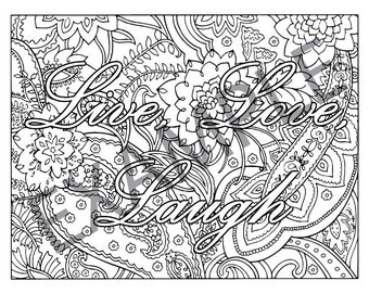 Live Love Laugh Printable Adult Coloring Book Page instant downloadable jpg and pdf files