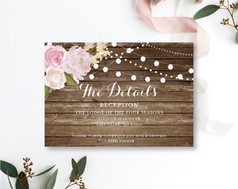 Details Card Template Wedding Info Card Wedding Details Card Enclosure Card Accommodations Card INSTANT Download PDF Template #CL102