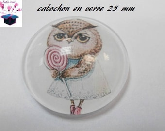 1 cabochon clear 25 mm round OWL theme