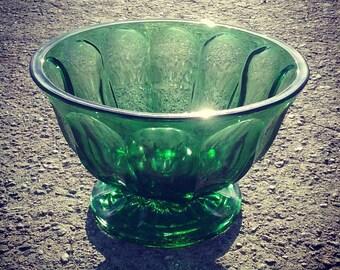 Vintage Emerald Green Pedestal Bowl