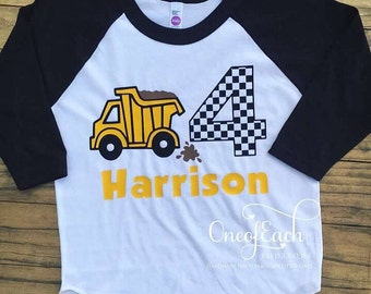 Construction Truck Birthday Raglan