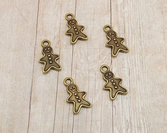 Set of 5 Tierra Cast Silver Pewter Charms - Gingerbread Man - Cookie - Antique Gold Finish