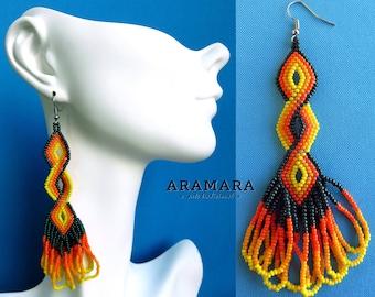 Huichol Earrings, Native Jewelry, Native american earrings, Mexican folk art, Mexican Jewelry, Boho earrings, Mexican earrings, AO-0099