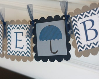 "Navy Blue and Grey Chevron - ""Its a Boy"" or ""Welcome Baby"" Umbrella Baby Banner Baby Shower Banner - Ask About Party Pack Specials"