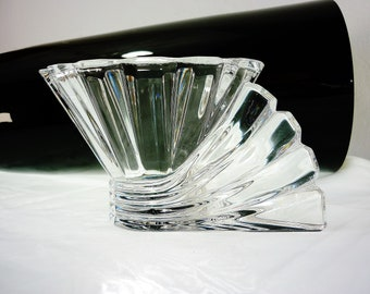 90s Rosenthal Crystal Studio Line Art Deco Candle Holder Blossom