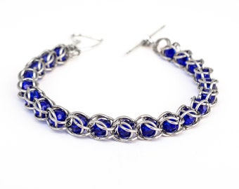Womens Captured Blue Bead Chanmaille bracelet Stainless steel blue crystal beaded bracelet gift for mom sister