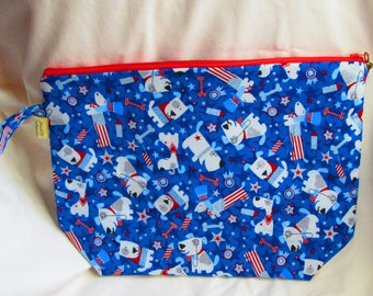 A Patriotic  Knitting Large Project Bag -  Dog Theme