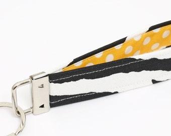 Key fob, zebra fabric keychain wristlet, animal skin print keyring, key lanyard - black and white zebra print, yellow and white polka dot