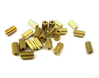 Vintage Raw Brass Mechanical Nut Tube Beads (20X) (B500)