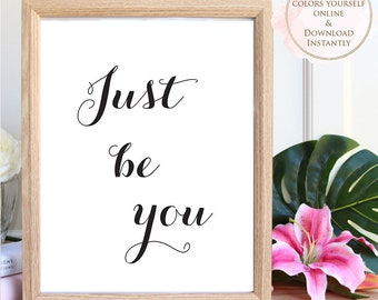 Printable wall art, Printable Quote, Just Be You, Wall Art Prints, Printable Art, Home decor, Printable Gift, Motivational Art, Prints