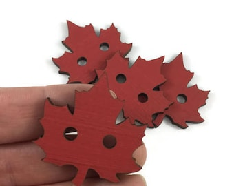 Red Maple Leaf wood button / Laser engraved / Various sizes / solid wood