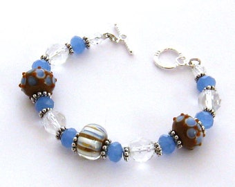 Denim Blue Lampwork Bracelet/Lampwork Glass Bracelet/Blue Lampwork Jewelry, Blue Art Glass Jewelry