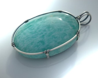 Pendant with amazonite 40 mm, unique, pendant large amazonite-wire wrapped solid sterling silver