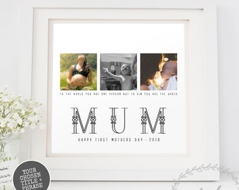 Keepsake Print Mum Daughter Gift Mothers Day Personalised Photo Collage Art, Wife Grandmother Granny Nana Family Personalised words saying