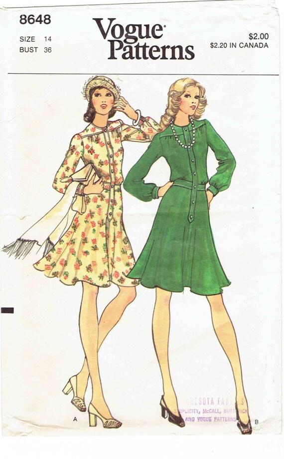 70er Jahre Vintage Vogue Schnittmuster ausgestellte 8648 ...