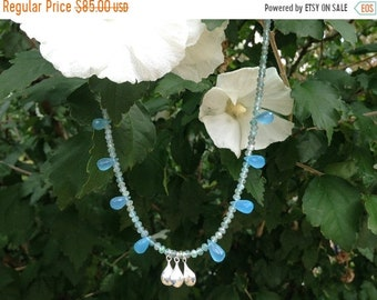 Mothers Day Blue Apatite ~ Blue Chalcedony & Sterling Silver Dew Drop Necklace