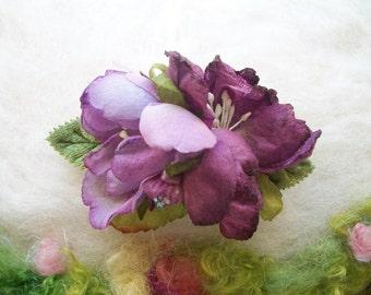 Flower Hair Barrette Lilac Lavender Fabric Flower Green Velveteen Leaves Hair Accessory Small Flower Hair Piece Handmade Dainty Fairytale