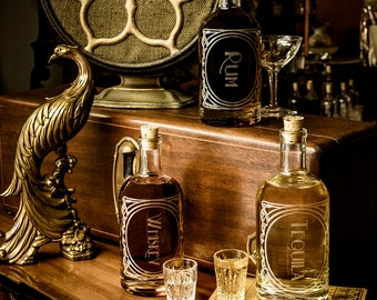 Whiskey - The Constance Single bottle-Etched Glass Spirit Decanters-Gift to dads, grads or any home bar/bar cart enthusiast in your life.