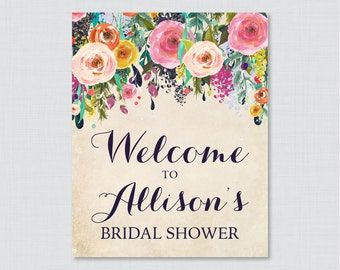 Floral Bridal Shower Welcome Sign Printable - Garden Party Bridal Shower Customizable Sign - Colorful Flowers Bridal Shower Decor 0002-A