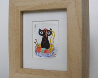 Little One learns to knit. Watercolour painting by Fiona Quinn. Handpainted, mounted and framed.