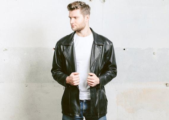 Black Medium Hard Rock Moto size Men's In Punk Worn 80s Coat BIKER Insulated Jacket Jacket Vintage Outerwear Leather Jacket Zip Side awnqER