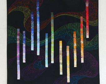"""Art quilt, """"Falling"""", quilt wall hanging, large art wall hanging, textile art, fibre art"""