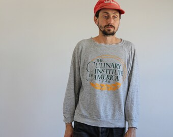 80s Champion Tri Blend Gray Heather Culinary Institute of America Sweatshirt Medium