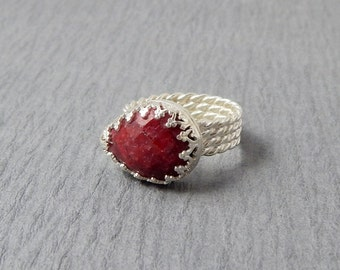 SALE Sterling Silver Ruby Teardrop Ring Size 8