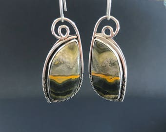 Bumble Bee Jasper Earrings, Yellow and Black Dangles, Unique Artisan Silversmith Sterling Silver Drop Earrings Landscape Stone, Picture Rock
