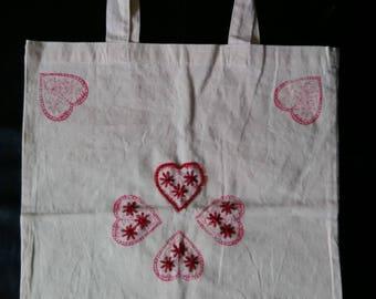 Hand printed Love hearts tote bag