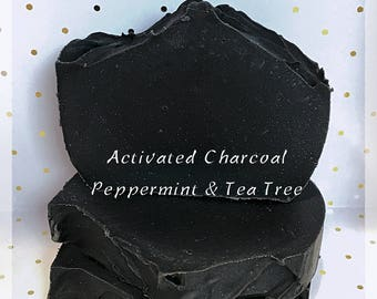 Charcoal Soap, Acne Soap, facial soap, Detox Soap bar, Peppermint Soap, Tea Tree Soap, Natural Soap, Handmade Soap, Essential Oil Soap Bar