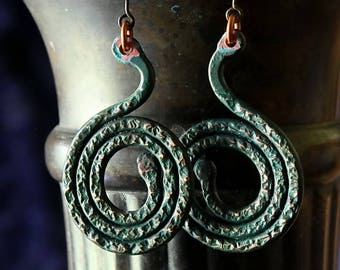 Hammered Copper Rustic Earrings, Patina Verdigris Organic Handmade Spirals Hippie Tribal Statement Bohemian Earrings Jewelry Gifts For Her