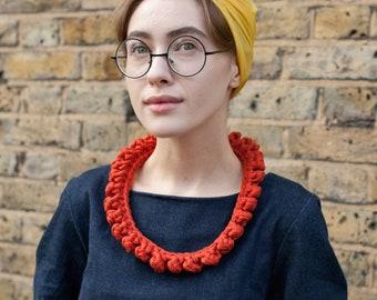 The Short Knot Recycled Cotton Statement Necklace in Rusty Orange, Textile Crochet Neckpiece NODO