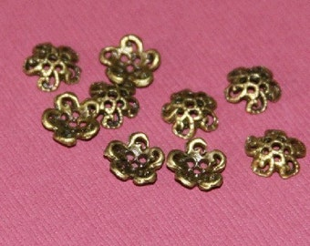 50 pcs of Antiqued Brass plated bead cap 9.5mm